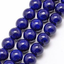 "Perles fossiles naturelles, teint, rond, darkblue, 8mm, trou: 0.8mm; environ 50 pcs/chapelet, 16""(X-G-SR8MM-FS08)"