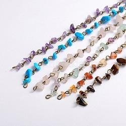 """Main copeaux de pierres précieuses perles chaînes pour neckalces bracelets faisant, avec épingle à oeil en fer bronze antique, non soudée, pierre mixte, 39.3""""; perles: 5~9 mm(AJEW-JB00044)"""