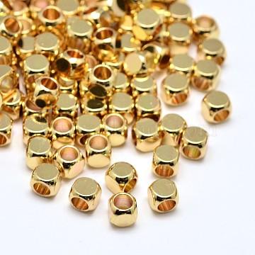 Brass Cube Beads, Lead Free & Cadmium Free & Nickel Free, Golden, 3x3x3mm, Hole: 1.8mm(X-KK-M085-A-07G-NR)