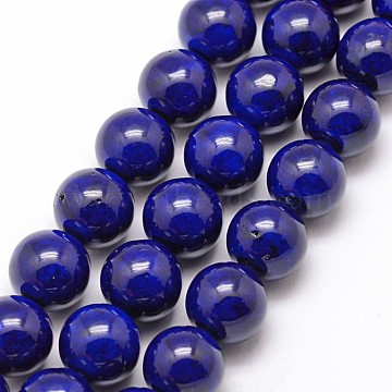 Natural Fossil Beads, Dyed, Round, DarkBlue, 8mm, Hole: 0.8mm; about 50pcs/strand, 16inches(X-G-SR8MM-FS08)