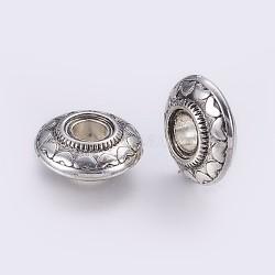 CCB perles en plastique, rondelle avec le coeur, argent antique, 25x10mm, Trou: 7.5~8mm(CCB-G006-107AS)