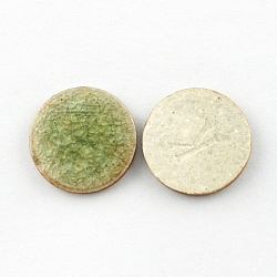 Flat Round Handmade Crackle Porcelain Cabochons, Green, 30x5mm(X-PORC-P003-9)