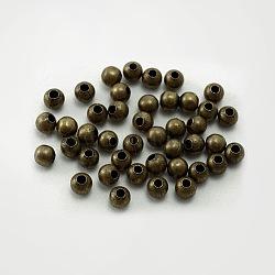 De fer ronde séparateurs perles, sans nickel, couleur de bronze antique, 4 mm de diamètre, Trou: 1.5mm(X-E148Y-NFAB)