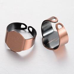 Composants d'anneau en laiton, accessoires de bague réglables, cuivre rouge, 18mm, Plateau: 15x11 mm(KK-F371-09R)