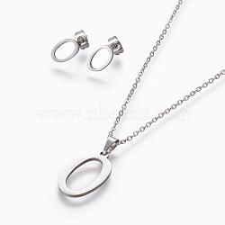304 ensembles de bijoux en acier inoxydable, boucles d'oreille et colliers, alphabet, couleur inox, letter.o, 17.7 18.1 cm); (45~46 mm; Broche: 7.5~10x3.5~12 mm(X-SJEW-L141-052O)