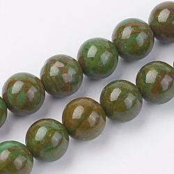 """Chapelets de perles en pierre gemme naturelle, teint, rond, olive, 8mm, trou: 1mm; environ 46 pcs/chapelet, 15"""" (38 cm)(G-F560-8mm-A03)"""