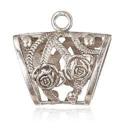 de style tibétain liens alliage de suspension, perles écharpe en liberté sous caution, Tube, argent antique, 37x39x16 mm, trou: 4.5 mm, diamètre intérieur: 12x26 mm(PALLOY-J080-02AS)