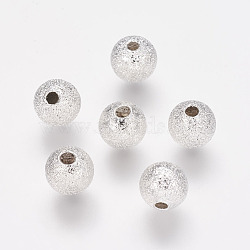 Brass Textured Beads, Round, Nickel Free, Silver Color Plated, about 6mm in diameter, hole: 1mm(X-KK-EC248-S-NF)