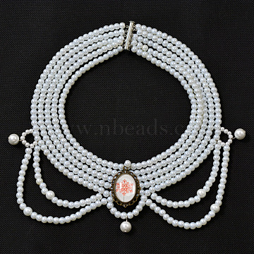 Free Tutorial Multi-stranded Pearl Choker Necklace, Mixed Color, Beads: 4~10mm(DIY-LC0019-01)