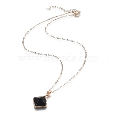 Natural Obsidian Pyramid Geometric Pendant Necklaces(NJEW-H204-01H)-2