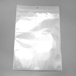 sacs de fermeture à glissière en plastique de film de perle, sacs d'emballage refermables, avec trou de suspension, joint haut, rectangle, blanc, 20x16 cm; mesure intérieure: 16x14.5 cm(OPP-R004-16x20-01)
