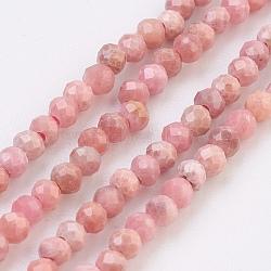 """Chapelets de perles en rhodochrosite naturelle, facette, rond, 2mm, trou: 0.6mm; environ 220 pcs/chapelet, 16.2"""" (41.2 cm)(G-F568-127-2mm)"""