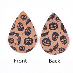 PU Leather Big Pendants, Halloween Theme, Teardrop, LightSalmon, 56x37x1.5mm, Hole: 1.2mm