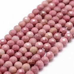 perles de rhodochrosite naturel brins, facettes, arrondir, 4 mm, trou: 1 mm; environ 86 perle / brin, 14.3(X-G-D840-16-4mm)