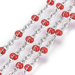Chaînes de câbles en 304 acier inoxydable, avec l'émail, soudé, couleur inoxydable, rouge, 1~2mm(CHS-G005-A-07P)