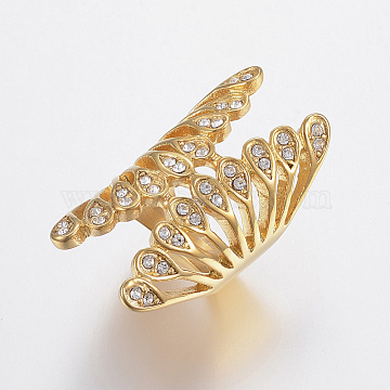 Vacuum Plating 304 Stainless Steel Rhinestone Finger Rings, Wide Band Rings, Hollow, Butterfly, Golden, Size 6~9, 16~19mm(RJEW-H125-56G)