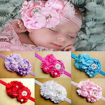 Elastic Baby Headbands for Girls, Hair Accessories, Flower, Mixed Color, 13.4inches~14.96inches(340~380mm)(OHAR-Q212-M)