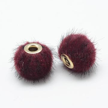 Handmade Faux Mink Fur European Beads, with Brass, Rondelle, DarkRed, 14~15x13.5~14mm, Hole: 4mm(OPDL-S089-02C)