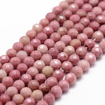 Natural Rhodonite Beads Strands, Faceted, Round, 4mm, Hole: 1mm, about 86pcs/strand, 14.3 inches(X-G-D840-16-4mm)