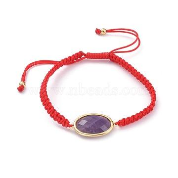 bracelets de perles de nylon tressés réglables, avec améthyste naturelle et laiton, ovale, 2-1 / 8 / 3-3 8 cm)(BJEW-JB04664-01)
