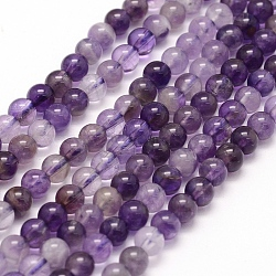 Chapelets de perles en améthyste naturelle, rond, 4~4.5mm, trou: 1mm; environ 88~90 pcs/chapelet, 15.7