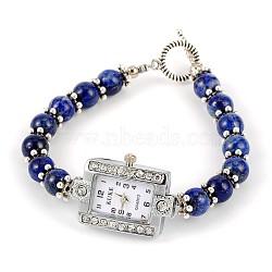 Strass alliage rectangle bracelets de montres électroniques, de lapis-lazuli et fermoirs à bascule de style tibétain, platine, 195mm(BJEW-JB01737-06)