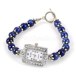 Rectangle Alloy Rhinestone Electronic Watch Bracelets, with Lapis Lazuli and Tibetan Style Toggle Clasps, Platinum, 195mm(BJEW-JB01737-06)