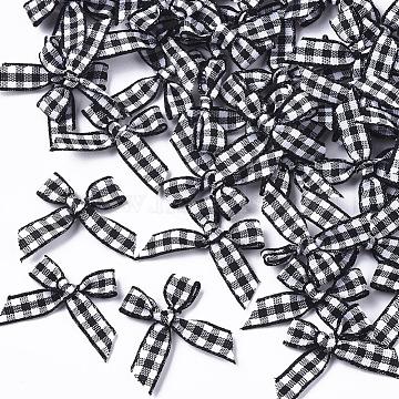 Handmade Woven Costume Accessories, Tartan Pattern Ribbon Bowknot, Black, 22~26x25~35x2~5mm(X-WOVE-TAC0002-001A)