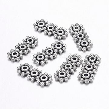 Tibetan Style Alloy Spacer Bars, Lead Free & Nickel Free & Cadmium Free, Flower, Antique Silver, about 15mm long, 6mm wide, 1.5mm thick, hole: 1mm(X-LF0072Y-NF)