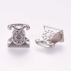 Perles en laiton, téléphone, platine, 12x11x8mm, Trou: 5mm(ZIRC-G092-02P)