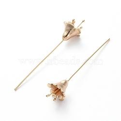 épingles à tête en forme de fleur en laiton, véritable plaqué or, 56.2x11.5 mm, pin: 0.8 mm(KK-E783-10G)