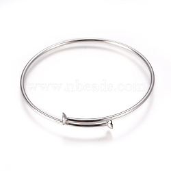 Регулируемый 304 браслет из нержавеющей стали, пустое основание браслета, нержавеющая сталь цвет, 2-3 / 8 (6.25 см); 2 мм; лоток: 6 мм(MAK-I013-01A-P)