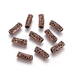 perles creuses en alliage tibétain, Tube, sans nickel, cuivre rouge, 19.5x6.5~7.5 mm, trou: 4.5 mm(TIBEB-L004-024R-NF)