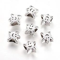 Alliage européens à grande perles de trou, étoiles, argent antique, 10x10x6mm, Trou: 4.5mm(PALLOY-E488-23AS)