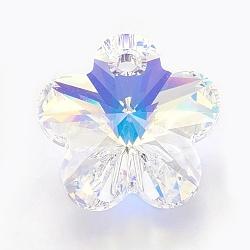 Pendentifs en cristal autrichien, fleur, 001 ab-cristal aurore Boreade, taille: environ 18mm de diamètre, épaisseur de 9.5mm, Trou: 2mm(X-SWAR-6744-101)