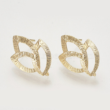 Brass Ear Stud Findings, with Loop, Leaf, Nickel Free, Real 18K Gold Plated, 22x14.5mm, Hole: 2mm, Pin: 0.8mm(X-KK-T027-99G)