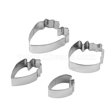304 Stainless Steel Cookie Cutters, Cookies Moulds, DIY Biscuit Baking Tool, Petal, Stainless Steel Color, 43x30mm; 58x35mm; 66x60mm; 75x58mm; 4pcs/set(DIY-E012-28)