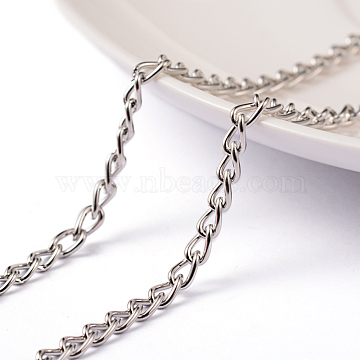 Iron Twisted Chains, Unwelded, with Spool, Lead Free & Nickel Free, Platinum, 5x3x0.8mm, about 32.8 Feet(10m)/roll(X-CHS003Y-P-FF)