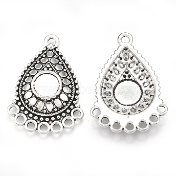 Tibetan Style Alloy Cabochon Connector Settings, Chandelier Component Link, Cadmium Free & Lead Free, teardrop, Antique Silver, Tray: 8.5mm, 36x25.5x5.5mm, Hole: 2mm(X-TIBE-S314-30AS-LF)
