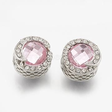Alloy Rhinestone Beads, Hollow, Large Hole Beads, Flat Round with Moon, Platinum, Rose, 12x13mm, Hole: 5.5mm(PALLOY-T048-12P-02)