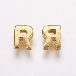 Breloques en laiton, véritable 18k plaqué or, letter.r, 5.5x4.5x2mm, Trou: 1mm(KK-P081-R)