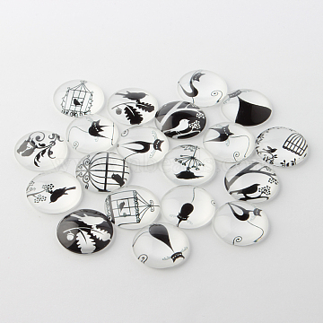 Retro Black and White Picture Glass Cabochons, Half Round/Dome, 20x6mm(X-GGLA-A002-20mm-NN)