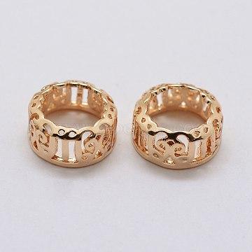 Brass Settings for Rhinestone Cabochons, Open Back Settings, Flat Round, Light Gold, Tray: 10mm, 12.5x5.5mm(X-KK-E753-09LG-10mm)