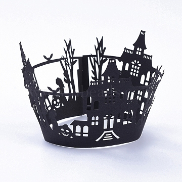Castle Halloween Cupcake Wrappers, Laser Cut Paper Liners Holders, for Halloween Party Wedding Birthday Decoration, Black, 8.3x19.4x0.03cm(CON-G010-D03)