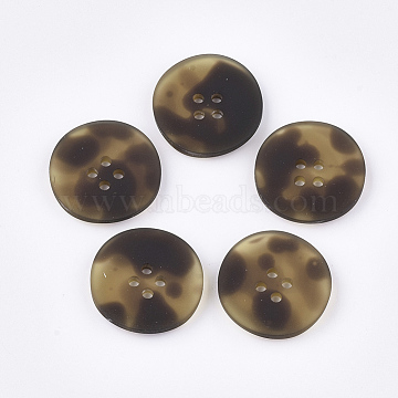 4-Hole Acrylic Buttons, Rubberized, Flat Round, CoconutBrown, 25.5x4.5mm, Hole: 2mm(BUTT-T003-02B)