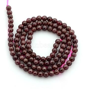 4mm Brown Round Garnet Beads