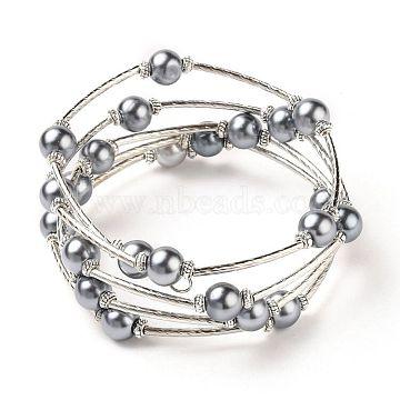 Fashion Wrap Bracelets, Glass Pearl Bracelets with Tube Beads, Gray, Bracelet: about 60mm inner diameter, Sold per 40 Bracelets(J-JB00041-11)