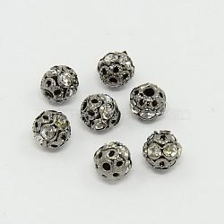 Perles en laiton de strass, Grade a, gunmetal, rond, cristal, 6mm, Trou: 1mm(X-RB-A011-6mm-01B)