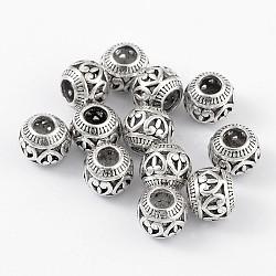 Perles européennes antique de style tibétain d'argent, rondelle avec le coeur, 11x9mm, Trou: 4.5mm(X-MPDL-R019-04)