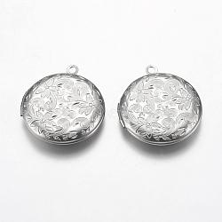 Pendentifs médaillon en 304 acier inoxydable, plat et circulaire avec fleur, couleur inoxydable, 31x27.5x5.5mm, trou: 2.5 mm; dimensions intérieures: 20 mm(STAS-P225-074P)